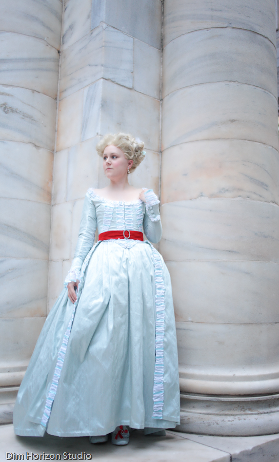 marie antoinette - blue dress red belt